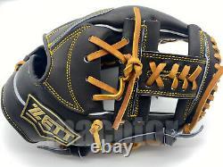 Japan ZETT Special Pro Order 11.5 Infield Baseball Glove Black H-Web RHT GIFT
