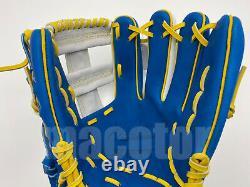 Japan ZETT Special Pro Order 11.75 Infield Baseball Glove Blue White RHT Cross