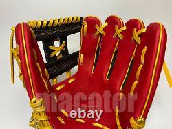 Japan ZETT Special Pro Order 12 Infield Baseball Glove Black Red RHT Light SALE