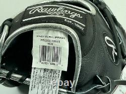 New! Rawlings Heart of the Hide BLACK Pro INFIELD/PITCHER Baseball Glove 12 HOH
