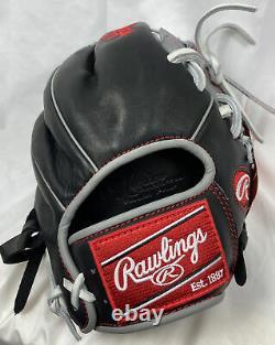 Rawlings HP204-2BGw 11.5 Heritage Pro Series Baseball Glove Infield Black/Gray
