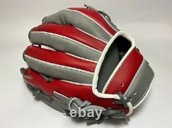 Nouveau Hi-gold Pro Order 11.5 Infield Baseball Gants Gris Rouge Rht H-web Japon